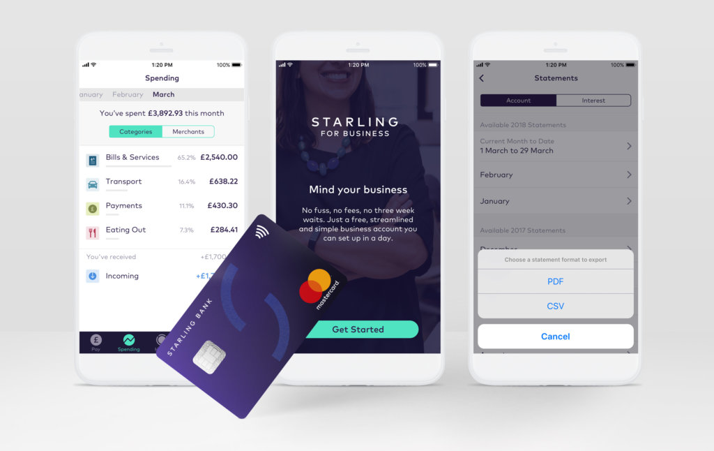 Starling business account screenshots